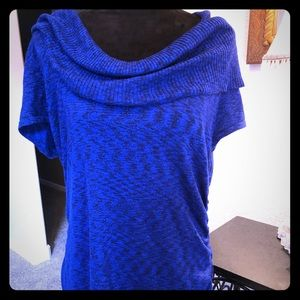 Shimmery electric blue short sleeve sweater